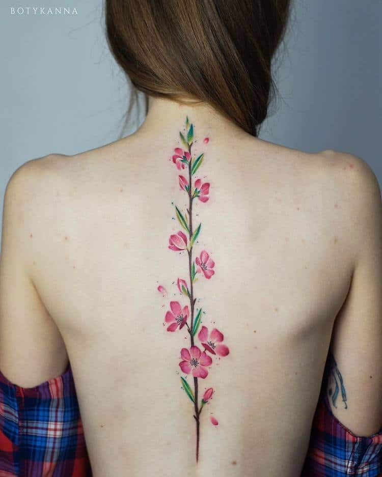 Cherry Blossom Tattoo on Spine by Anna Botyk