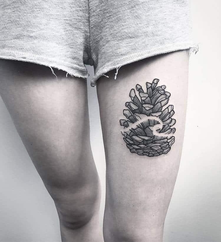 Pine Cone Tattoo by medusenoire