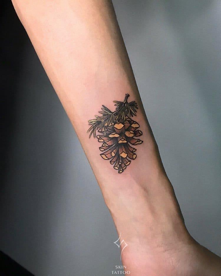 Pine Cone Tattoo by skincattattoo