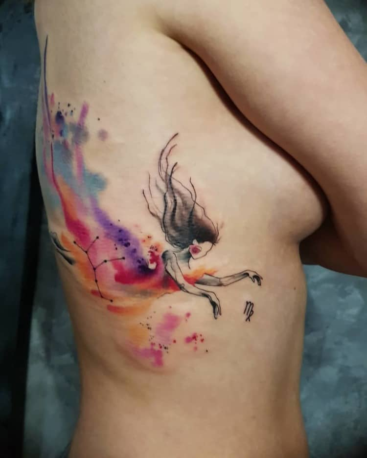 Watercolor Virgo Tattoo by Simona Blanar