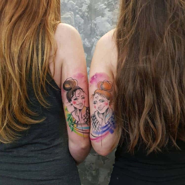 Matching Watercolor Tattoos by Simona Blanar
