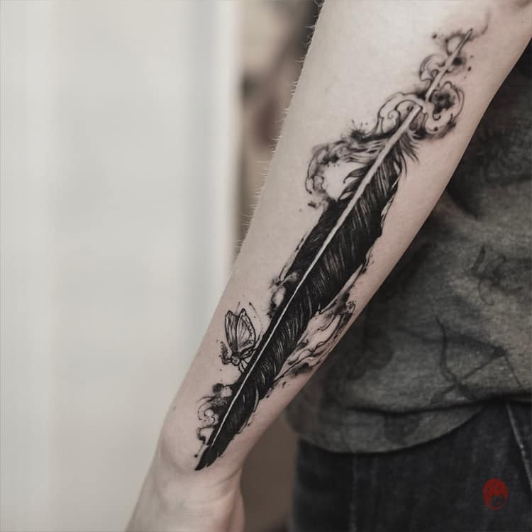 Feather Tattoo by rei.ink