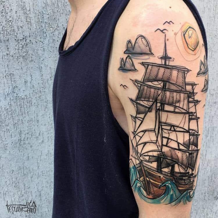 Half Sleeve Sailing Ship Tattoo by Luca Testadiferro