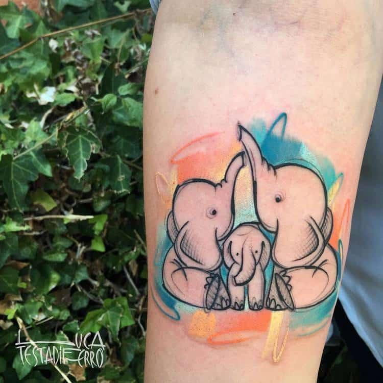 Elephant Family Tattoo by Luca Testadiferro