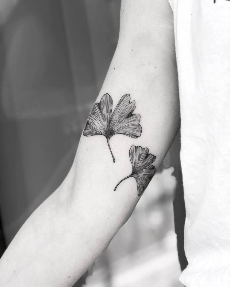 Ginkgo Biloba Leaves Tattoos by Mary Tereshchenko