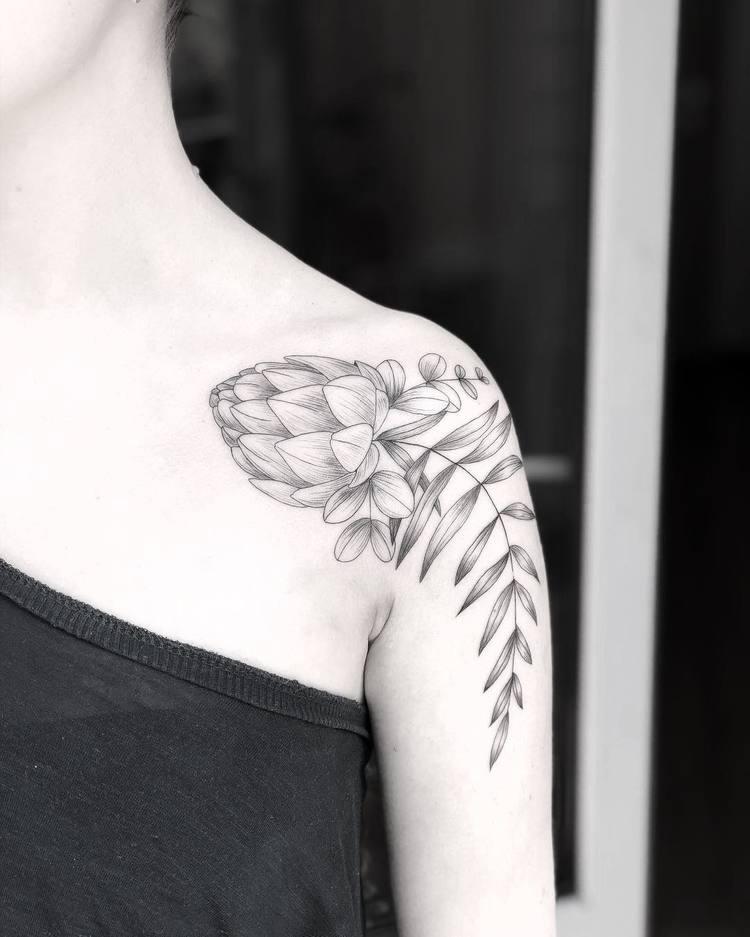 Artichoke, Eucalyptus, andFern Tattoo by Mary Tereshchenko