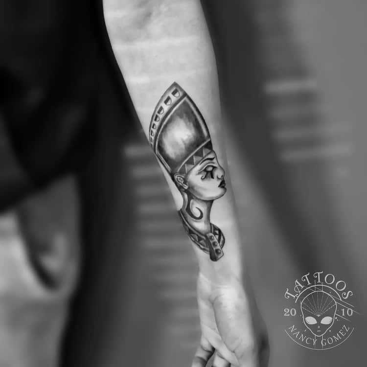 Black and Grey Nefertiti Tattoo by nancygomeztattoo