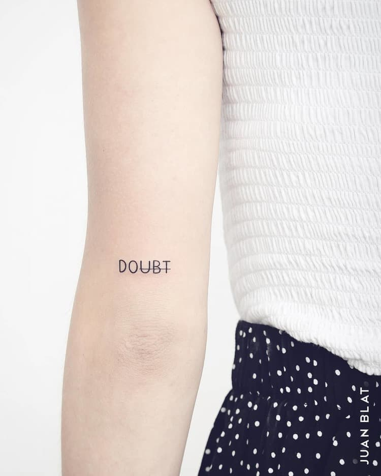 Doubt Tattoo on Elbow