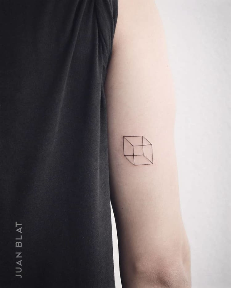 3d cube tattoo on tricep