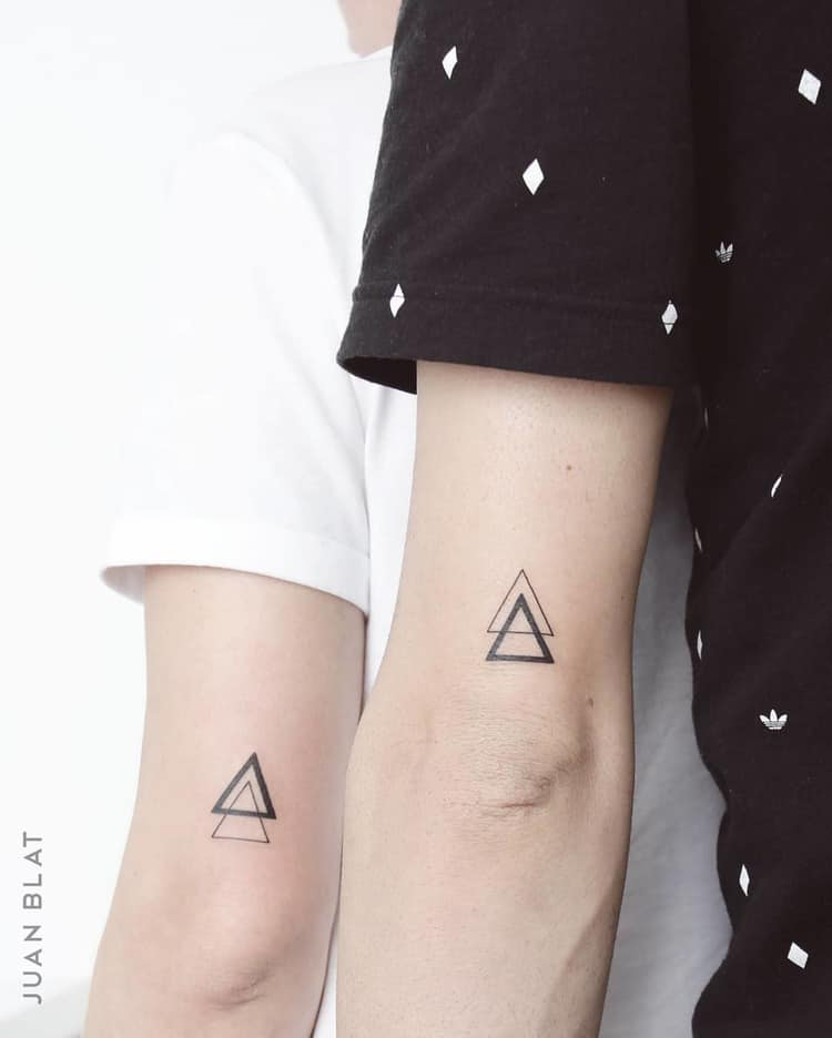 His and Hers triangle micro tattoos