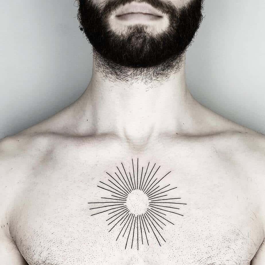 Linework Sun Tattoo by Malvina Maria Wisniewska